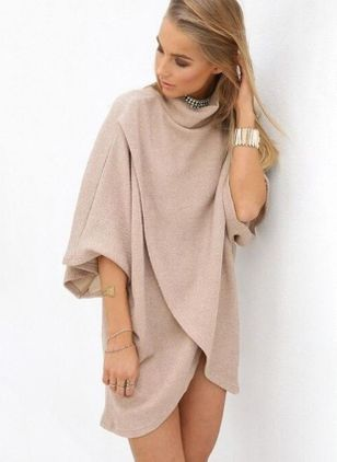 Solid 3/4 Sleeves High Low Shift Dress