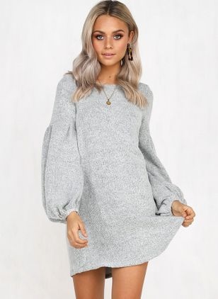 Solid Sweater Long Sleeve Above Knee A-line Dress