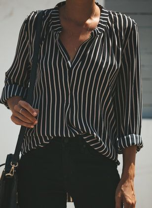 Stripe Cute Collar Long Sleeve Blouses