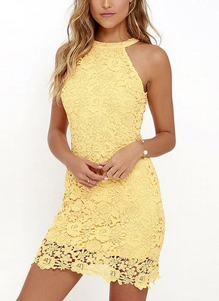 Solid Lace Sleeveless Above Knee Sheath Dress