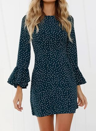 Polka Dot Ruffles Long Sleeve Above Knee A-line Dress