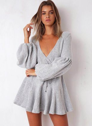 Solid Ruffles Sweater Above Knee A-line Dress