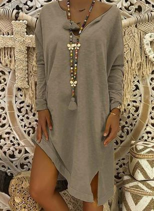 Solid Long Sleeve High Low Shift Dress