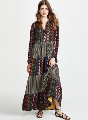 Floral Peasant Long Sleeve Maxi Shift Dress