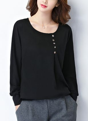 Solid Casual Round Neckline Long Sleeve Blouses