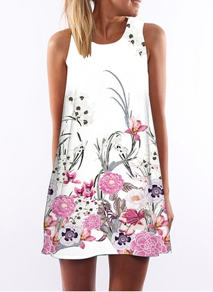 Floral Sleeveless Above Knee Shift Dress