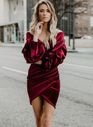Solid Long Sleeve Above Knee Bodycon Dress