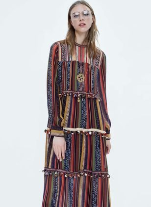 Stripe Long Sleeve Maxi Shift Dress