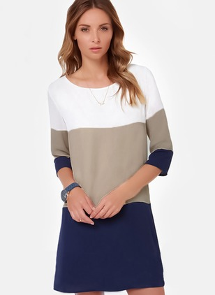 Color Block Long Sleeve Above Knee Dress