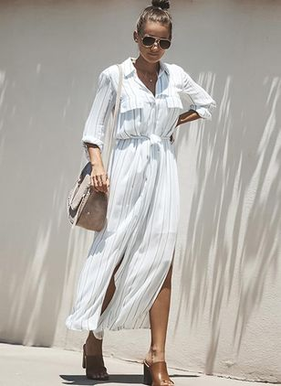 Stripe 3/4 Sleeves Maxi A-line Dress