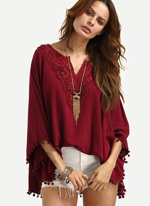 Solid Casual Others Long Sleeve Blouses