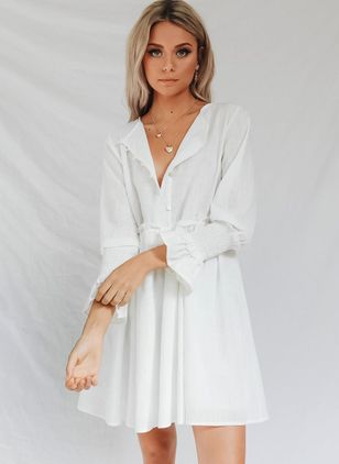 Solid Long Sleeve Above Knee A-line Dress