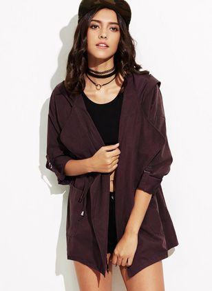 Long Sleeve Lapel Sashes Pockets Trench Coats