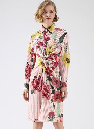 Floral Shirt Long Sleeve Above Knee A-line Dress
