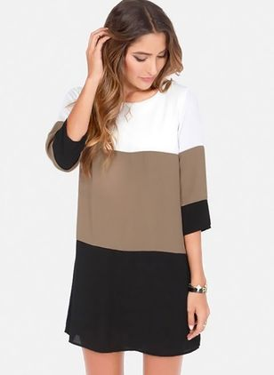 Color Block 3/4 Sleeves Above Knee Shift Dress
