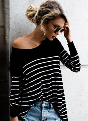 Stripe Casual Round Neckline Long Sleeve Blouses