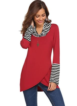 Color Block Casual High Neckline Long Sleeve Blouses