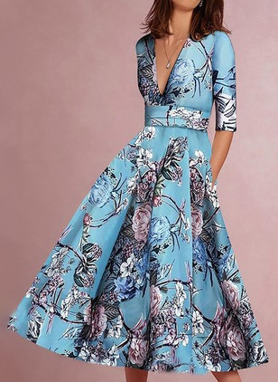 Floral Half Sleeve Midi A-line Dress