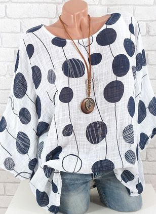 Color Block Casual Round Neckline Long Sleeve Blouses