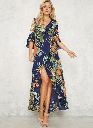 Floral Ruffles 3/4 Sleeves Maxi A-line Dress