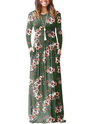 Floral Long Sleeve Maxi A-line Dress