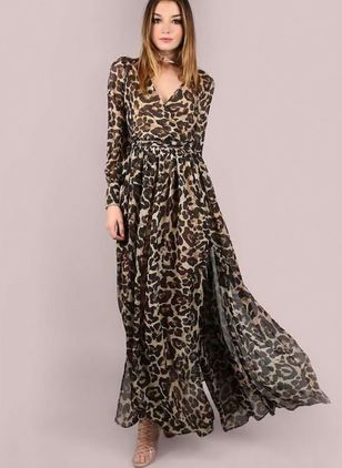 Leopard Long Sleeve Maxi A-line Dress