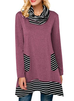 Stripe Long Sleeve Above Knee A-line Dress