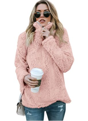 Solid Cute High Neckline Long Sleeve Blouses