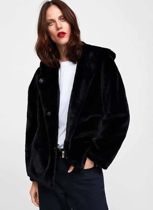Long Sleeve Hooded Buttons Fur Coats