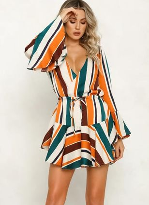 Stripe Ruffles Long Sleeve Above Knee A-line Dress