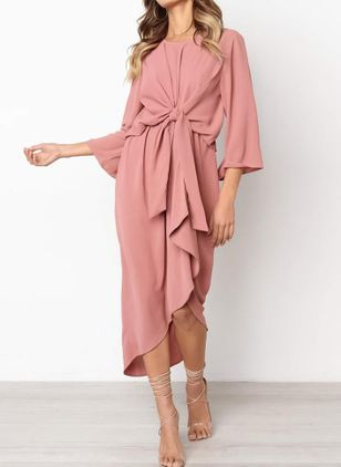 Solid Ruffles Long Sleeve Midi A-line Dress