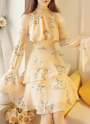 Floral Ruffles Long Sleeve Above Knee A-line Dress