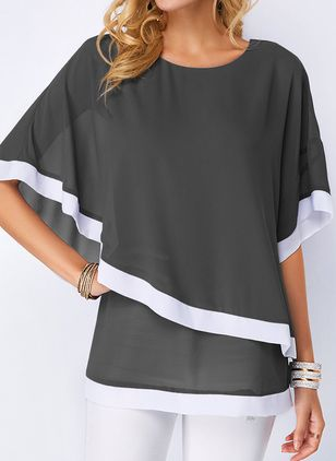 Color Block Round Neckline Half Sleeve Blouses