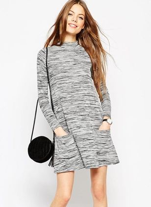 Geometric Sweater Long Sleeve Above Knee Shift Dress