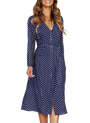 Polka Dot Long Sleeve Midi A-line Dress
