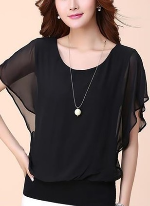 Solid Casual Round Neckline Short Sleeve Blouses