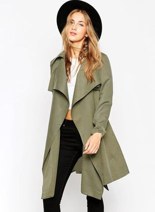 Long Sleeve Lapel Sashes Trench Coats