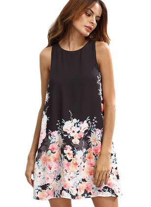 Floral Hollow Out Sleeveless Above Knee Shift Dress