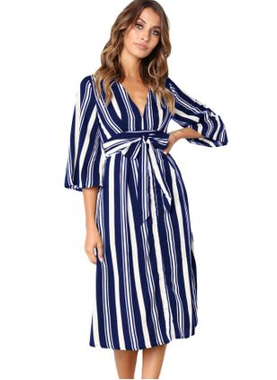 Stripe 3/4 Sleeves Midi A-line Dress
