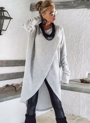 Solid Sweater Long Sleeve High Low Shift Dress