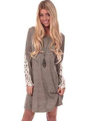 Floral Hollow Out Sweater Above Knee Shift Dress
