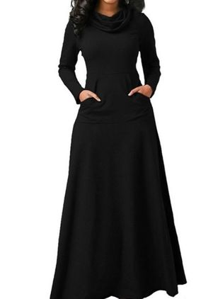 Solid Pockets Long Sleeve Maxi A-line Dress