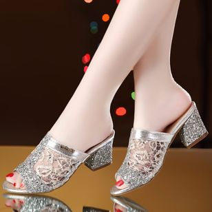 Women's Stitching Lace Heels Fabric Sparkling Glitter Chunky Heel Sandals (1492351)