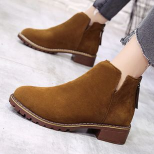 Women's Zipper Ankle Boots Cloth Low Heel Boots (1518849)