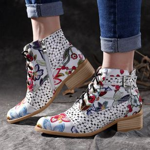 Women's Lace-up Ankle Boots Low Heel Boots (1370435)
