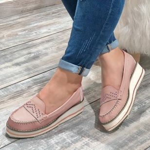 Women's Hollow-out Round Toe Flat Heel Flats (4101618)