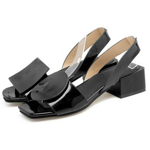 Women's Others Square Toe Patent Leather Low Heel Sandals (1492353)