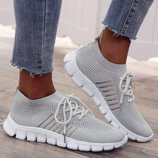 Women's Hollow-out Flats Cloth Flat Heel Sneakers (1370413)