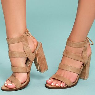 Women's Lace-up Heels Leatherette Chunky Heel Sandals (4101676)