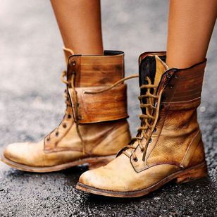 Women's Lace-up Ankle Boots Flat Heel Boots (1397792)
